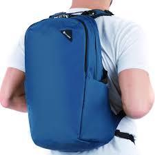 Mochila antirrobo vibe de pacsafe lado azul